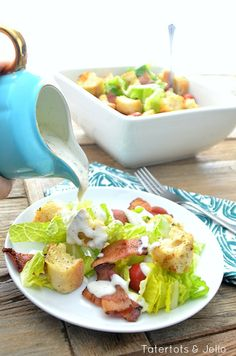 BLT Salad with DIY Buttermilk Ranch Dressing -- Tatertots and Jello