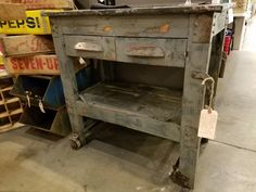 Industrial work bench, $395.  Gaslamp Antiques Too, booth T366.
