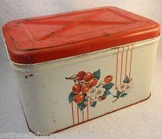 Vintage Retro Kitchen Counter Top Tin Hinged Lid Breadbox Red Cherries Motif | eBay