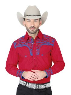 Western Shirts, Cowboy Hats, Mens Fashion, Red, Cotton, Collection, Products, Templates, Red Wedding