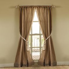 Burlap Curtains, I want these for my living room! Burlap Drapes, No Sew Curtains, Drop Cloth Curtains, Rustic Curtains, Curtains Living, Bedroom Curtains, Short Curtains, Window Curtains, Roman Curtains