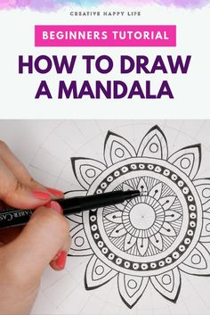 Beginners tutorial: How to draw a mandala — Creative Happy Life – Drawing 2020 Mandala Doodle, Easy Mandala Drawing, Mandala Art Lesson, Simple Mandala, Mandalas Drawing, Mandala Tattoo, Mandala How To Draw, Art Tutorials, Drawing Tutorials