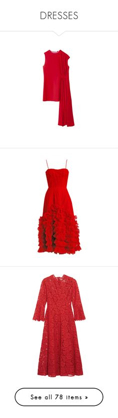 """DRESSES"" by nguyen-huynh-khanh-thy on Polyvore featuring dresses, tops, dior, red dress, red cocktail dress, 50s dresses, red, ruby red dress, tulle dress and layered ruffle dress"