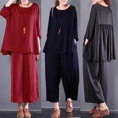 Uk 8-26 Women Casual Loose Crew Neck Vintage Long Sleeve Shirt Tops Blouses Tee