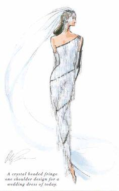 A crystal beaded fringe one shoulder wedding dress design by Oleg Cassini.