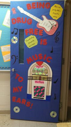 Red ribbon week door decoration Classroom Crafts, Classroom Door, Music Classroom, Drug Free Posters, Drug Free Week, Music Bulletin Boards, Red Ribbon Week, Door Displays, Poster Maker