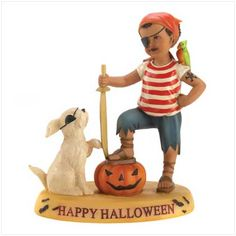 "Matey's Forever Figurine  A chubby-cheeked pirate and his canine captain prepare for a swashbuckling night of trick or treat. An enchanting scenario of a child's delight on Halloween night!  Handmade by CloudWorks™. Weight 1 lb. Stone resin. 4 3/4"" x 2 3/4"" x 6"" high.    12392  $35.00 Free Shipping"