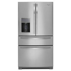 Whirlpool ft French Door Refrigerator with Ice Maker (Monochromatic Stainless Steel) at Lowe's. French door refriegerator with external dispenser 4 Door Refrigerator, Stainless Steel Refrigerator, Stainless Appliances, Kitchen Appliances, Top Rated Refrigerators, Fridge Decor, Fridge Shelves, Small Fridges, Freezer Storage
