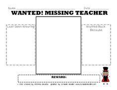 My Teacher Is Missing! Sub Plan Pack *freebie*