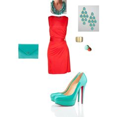 Turquoise and coral night on the town