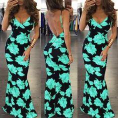 Floral Open Back Maxi Dress (S/M/L/XL/2XL) $23.99