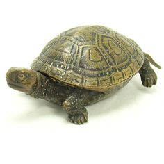 Signed Bronze Figural Turtle Inkwell with Porcelain Insert