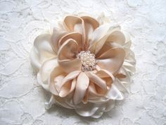 Romantic Ivory with Champagne Satin Bridal by theraggedyrose