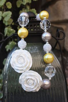 Grey and yellow flower chunky beaded