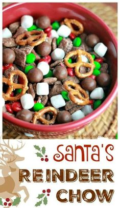 Santa'S Reindeer Chow - Try this Santa's Reindeer Chow as Santa's marvelous handle in reference to his special recipes. You are going to hop for glee since the Reindeer because the exclusive tastes in this snacks. So, this is actually the recipes. Reindeer Chow Recipe, Reindeer Food, Santa And Reindeer, Christmas Snack Mix, Christmas Desserts, Christmas Treats, Christmas Baking, Christmas Cookies, Appetizers