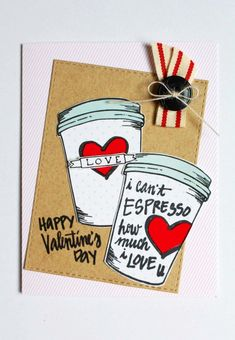 Handmade Valentine created by Marisa Alvarez with Amuse Stamps Mocha Me Happy SADH002 - http://kitchentablestamper.com/2016/01/a-muse-studio-mocha-me-happy-handmade-valentine-for-teacher/