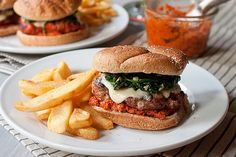 Sausage Burgers with Garlicky Spinach and Sun-dried Tomato Pesto by Smells Like Home