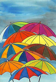 Bad weather - colorful umbrella parade - Bad weather – colorful umbrella parade Informations About Schmuddelwetter – farbenfrohe Regensch - Autumn Art, Winter Art, Colorful Umbrellas, Fall Art Projects, Umbrella Art, Damier, Hand Art, Art Club, Art Plastique