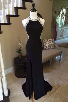 Fitted Halter High Slit Open Back Long Black Jersey Beaded Prom Dress