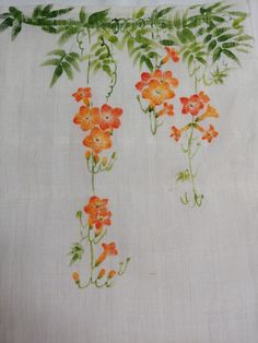 Chinese Painting Flowers, Flower Painting Canvas, Fabric Painting, Fabric Art, Wall Painting Decor, Plant Painting, Embroidery Flowers Pattern, Embroidery Art, Watercolor Painting Techniques