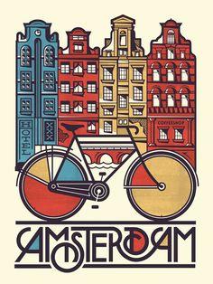 Amsterdam poster design with great typography by via Kunst Poster, Poster S, Bike Poster, Poster City, City Illustration, Graphic Design Illustration, Pub Vintage, Vintage Art, Vintage Style