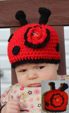 Lilly the Ladybug Animal Hats, Crochet For Kids, Ladybug, Custom Design, Infant, Crochet Hats, Birthday, Unique, Bugs