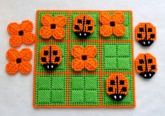 Tic-Tac-Toe Game Ladybugs in Orange by gailscrafts on Etsy Plastic Canvas Crafts, Plastic Canvas Patterns, Tent Stitch, 4 Ply Yarn, Tic Tac Toe Game, Butterfly Kisses, Canvas Designs, Pc Games, Tissue Box Covers