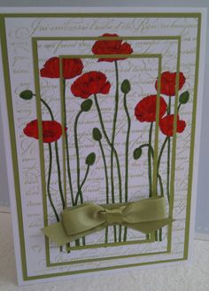 Stampin Up Pleasant Poppies triple print card.