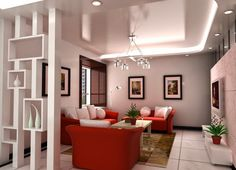 decorative plasterboard partition walls with shelves in modern living room