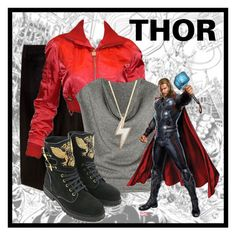 """Thor"" by laniocracy ❤ liked on Polyvore featuring Lee, Chanel, Yves Saint Laurent, Marc by Marc Jacobs, Balmain and theavengers"