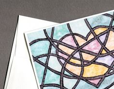 Stained Glass Heart Card Valentine's Day I by MILESTOGOwithALI, $4.99