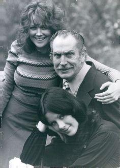 Fiona Lewis   Vincent Price   Valli Kemp ~ on the set of Dr. Phibes Rises Again (1972)  #villianlook #watchout