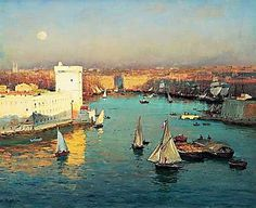 Marseille old port from the Pharo, by Jean-Baptiste Olive, circa Art Et Nature, Pierre Bonnard, Old Port, Provence France, Oboe, Corsica, Tall Ships, Music Games, Places To Go