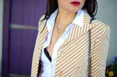 Carven zigzag tweed jacket in yellow and white, Theory white button down shirt, Chantelle black lace bra, layered delicate necklace, Bite pomegranate red lipstick, spring fashion outfit, fashion blog.