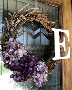 DIY Monogrammed Purple Hydrangea & Lavender Grapevine Wreath Idea....