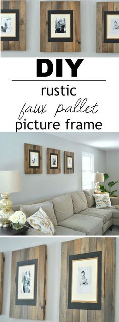 These picture frames look like they are made from reclaimed wood pallets but are really made from cheap white wood that's stained to look old and weathered! There's a great video tutorial that shows you how simple (and inexpensive) they are to make! #reclaimedwoodfurniture