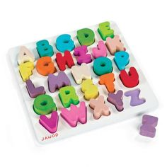 This chunky three dimensional alphabet puzzle makes a wonderful gift for toddlers.  Each wooden letter is bold and bright and fits into its own color-coordinated space on the puzzle board.  What we love the most about