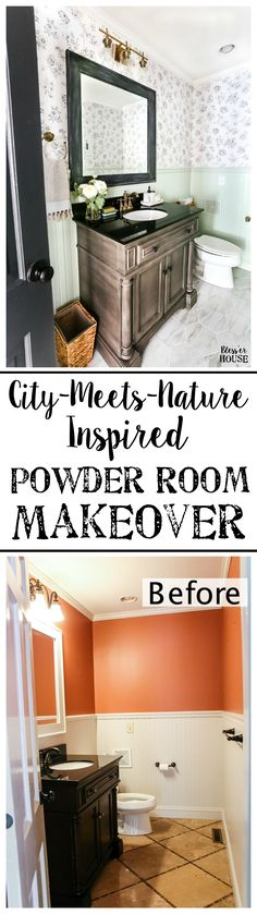 A dated powder room gets a modern meets traditional, urban meets farmhouse makeover with black and white floral wallpaper. Farmhouse Side Table, Farmhouse Decor, Home Renovation, Bathroom Renovations, Aqua, Cute Dorm Rooms, Diy Décoration, Cheap Home Decor, Living Room Designs