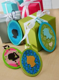 Make gift tags with your family's silhouettes on them!