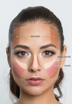 Use este mapa facial para determinar onde exatamente aplicar o pó bronzeador, o iluminador e o blush.   7 truques de maquiagem ridiculamente fáceis que irão facilitar sua vida