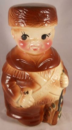 Davy Crockett American Bisque Cookie Jar RARE Vintage Antique in Pottery & Glass, Pottery & China, Art Pottery Antique Cookie Jars, Glass Cookie Jars, Kinds Of Cookies, Cute Cookies, Bisque Pottery, Jar Art, Vintage Cookies, Teapots And Cups, Biscuit Cookies
