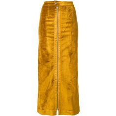 Eckhaus Latta fitted skirt (£310) ❤ liked on Polyvore featuring skirts, eckhaus latta, yellow skirt and fitted skirts