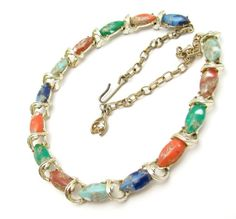 Vintage Necklace Art Glass Multi Color Marquis by hawaiibeads2, $49.95