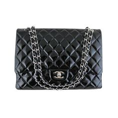 4bd8859c4565 Chanel Maxi Jumbo Black Patent 2.55 Classic Flap Silver Hardware Evening Bag