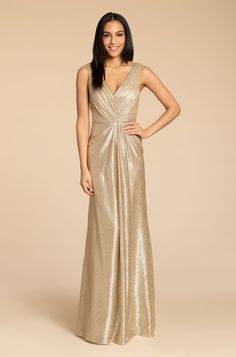 Style 5954 Arriving in Stores Mid Summer 2019 Hayley Paige Occasions bridesmaids gown - Gold liquid metallic A-Line gown, cross over draped bodice, natural waist, V-back with strap detail. Gold Bridesmaids, Gold Bridesmaid Dresses, Bridesmaid Pictures, Metallic Wedding Dresses, Gold Wedding, Wedding Gowns, Hayley Paige, A Line Gown, Gold Dress