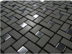 Black Basalt Pinwheel Pattern with Silver Metal Tile dots.