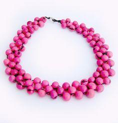 Chunky Bead Choker Necklace Big Pink Bead par JustineJustine