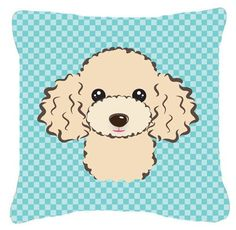Checkerboard Buff Poodle Indoor/Outdoor Throw Pillow