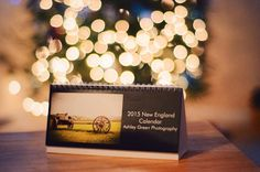 A 12 month 2015 fold-out desk calendar featuring photos from the New England area. 8.27 x 3.74 and printed on thick card stock with a glossy