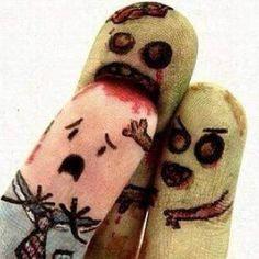 Brrraaaaiiiiinnns! Err, Finger Naaaaaiiiiiilllls! #InkedMagazine #art #artwork #zombies #humor